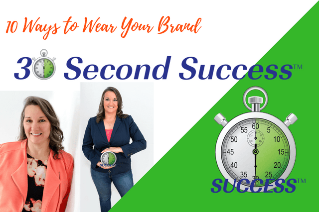 30 Second Success Logo with a 30 second clock replacing the zero in 30 and two headshot images Laura Templeton uses in her marketing with her wearing her company colors. She is holding the 30 second clock between her hands in 1 photo.