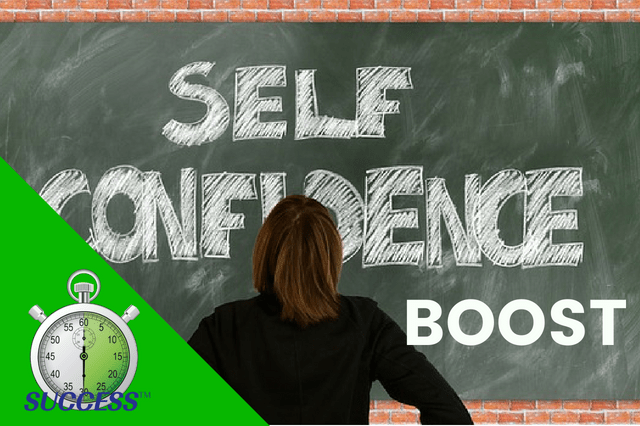 "a self-confident woman facing a blackboard with hands on her hips and the words ""Self-confidence"" written on the board in big bold letters"